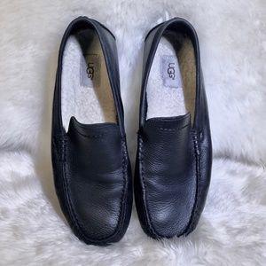 UGG 'Henrick' Black Leather Loafers Mens 10.5